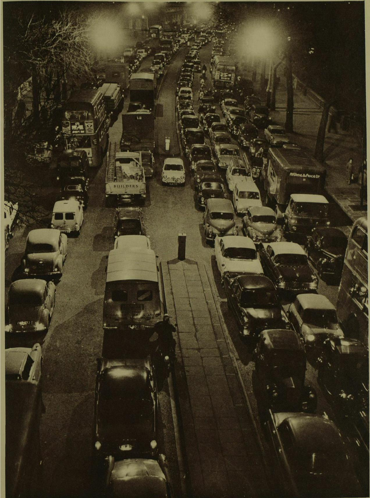 The Embankment from Westminster Bridge on the evening of the Tube strike. London Illustrated News, February 3rd 1962.